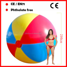 200CM diameter giant rainbow inflatable beach balls for promotion