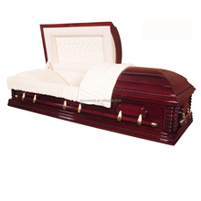 China supplier manufacturer mdf wood veneer casket with foot cover measures coffin