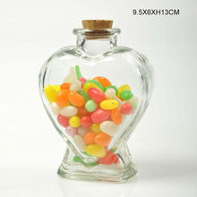 Food grade heart shape glass candy jar with cork lid