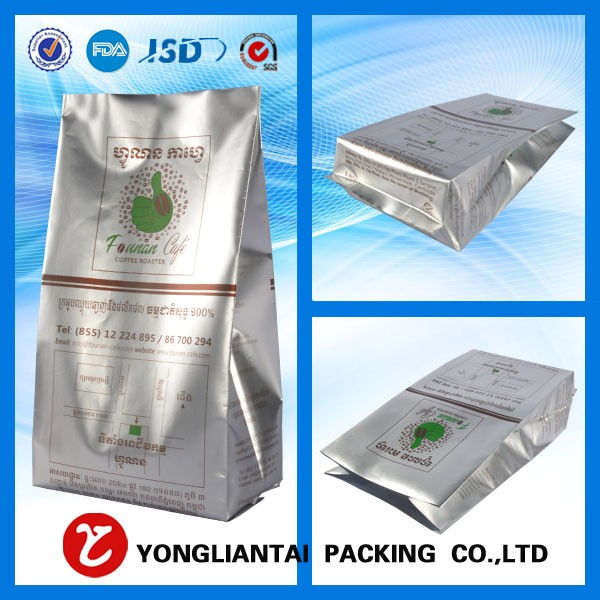 Aluminium foil lined snack side gusset plastic packaging zipper bag for nuts