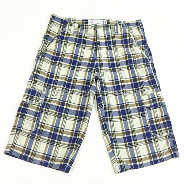 2015 New Check Style Men Wash Short Readymade Garments Stock Lot