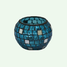Made in China ribbed glass mosaice candle holders