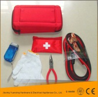 China wholesale high quality road safety/car/auto emergency kit/roadside tool set with booster