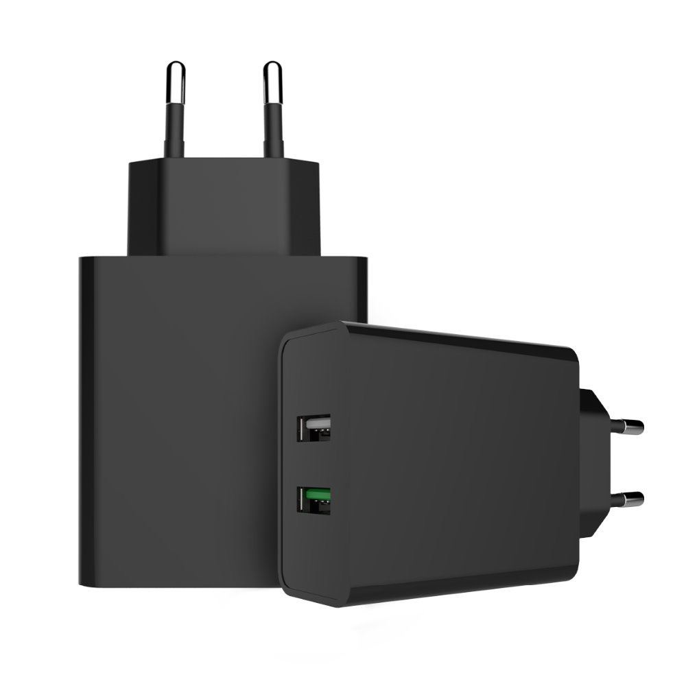 CE ROHS FCC Approved Dual USB Wall Charger QC3.0 Quick Charger