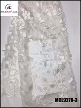 MCL9278-3 New Fashion handwork 3D flower white bridal embroidered tulle lace fabric