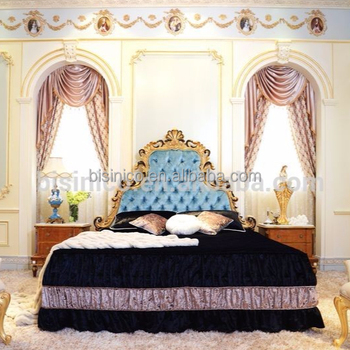BISINI Fantastic French Style Rococo Wooden Carving Bedroom Furniture Set/ Palace Elegant Queen & King Size Luxury Bedroom Set