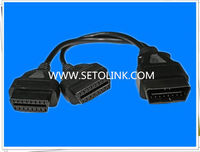 2014 HOT SALE 16 PIN OBD2 SPLITTER EXTENSION Y TYPE CABLE,J1962 MALE TO FEMALE CONNECTORS,