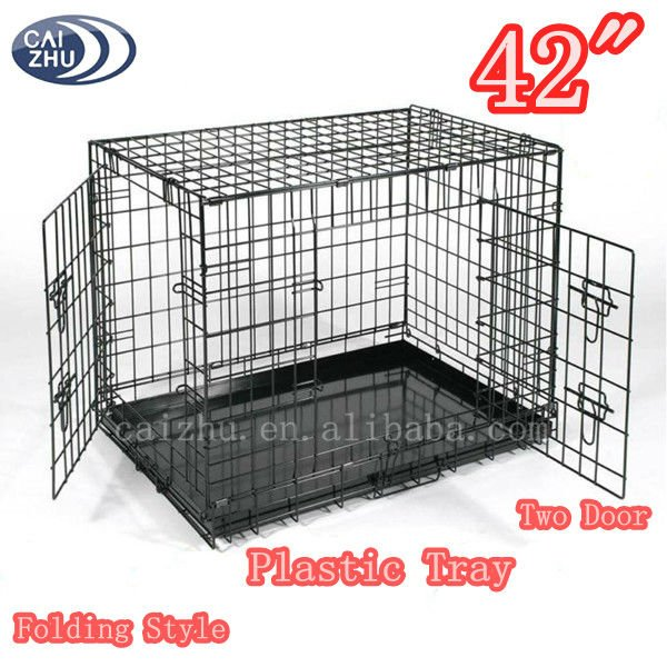"Foldable Black 36"" 2 Door Dog Crate w/ Plastic Tray"