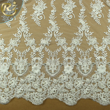 LF-371R1 High Quality Water Soluble 3D White Brocade Chemical For Wedding Beaded Lace Fabric