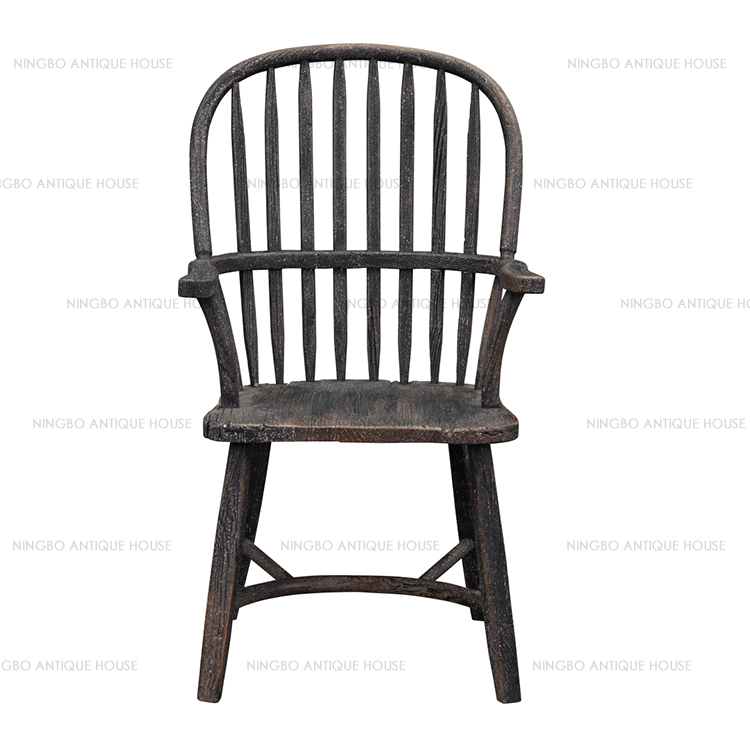 Vintage Furniture Recycled Elm Antique White/Black Wood Chair