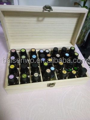 Natural solid wood pine wooden essential oil box can storage 25 bottles