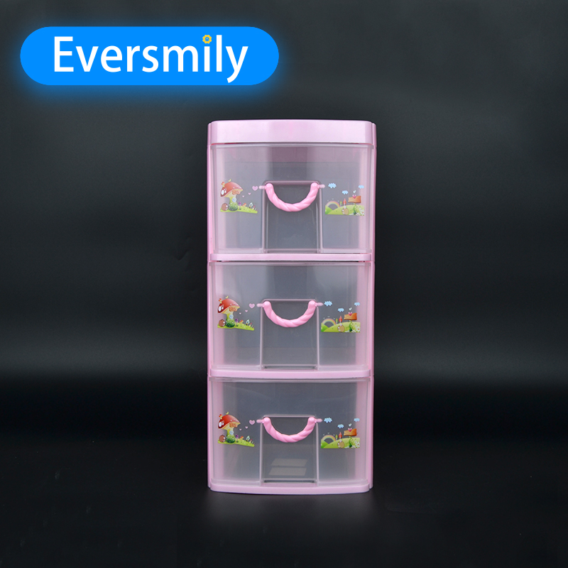 Hot sale desktop drawer 3 layers plastic file cabinet for office
