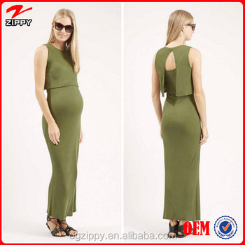 Fashion Through All Stages of Pregnancy Tunic Dress Sleeveless Wholesale Maternity Overlay Maxi dress