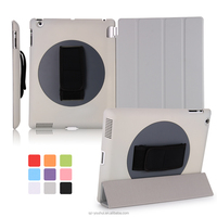 Best Selling Smart Handheld PU 360 Degree Rotating Back Cover Case for iPad 2 for iPad 3 for iPad 4