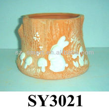 Carving rabbit animal terracotta planter pot