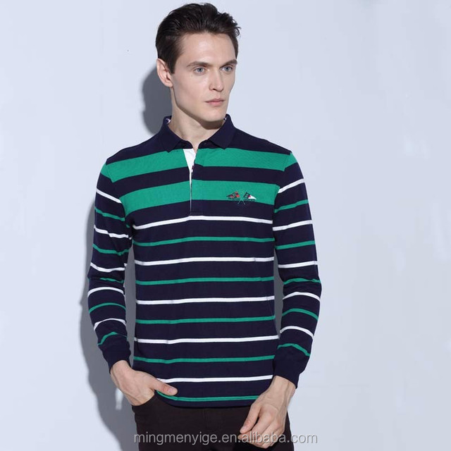 Men Long Sleeve Polo Tshirt Logo Tshirt Yarn with Fancy Stripes