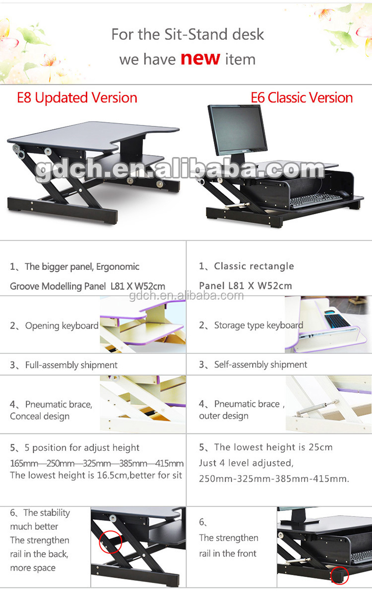 High quality adjust height sit stand desk with wooden desktop and zinc alloy joint