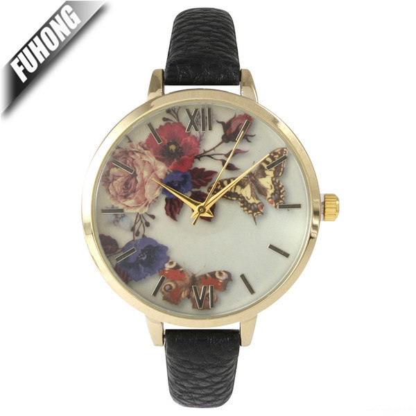 Alloy case with IP plating leather strap quartz watch fashion ladies wrist watch with butterfly