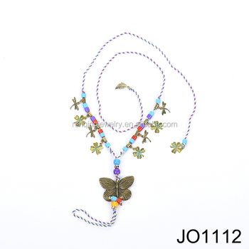 butterfly alloy with plastic beads anklet chain for women