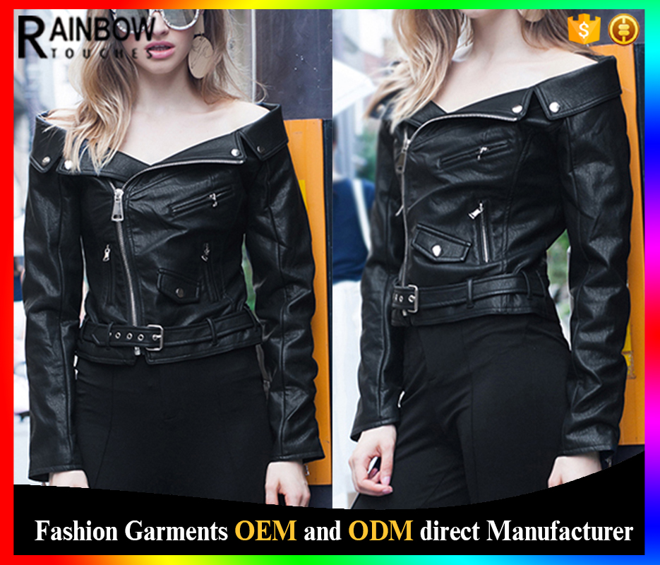 Hot Sale Custom Streetwear black Leather Motorcycle Jacket For Woman