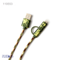2016 Metal head 8 pin Braided Camouflage 5V 2A Micro USB 2 in 1 Cable for android for iphone
