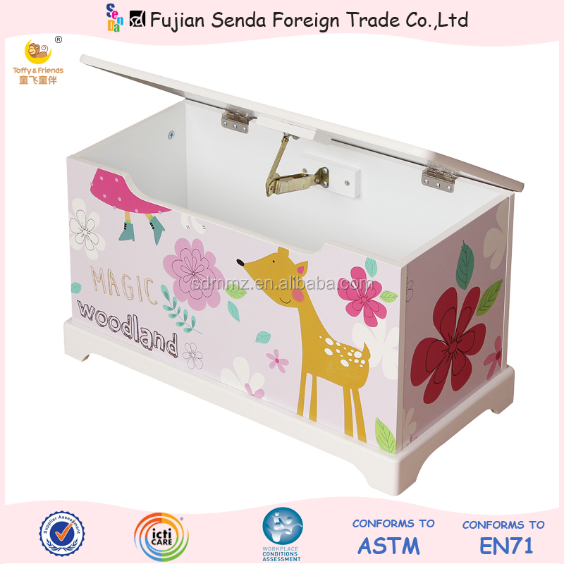 Wooden Kid Toy Box Toy With Base In 'Deer Girl' Design