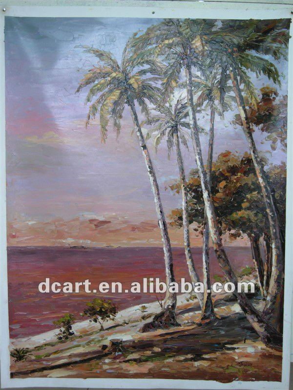 Amazing Cocoanut Tree Oil Painting On Linen Canvas