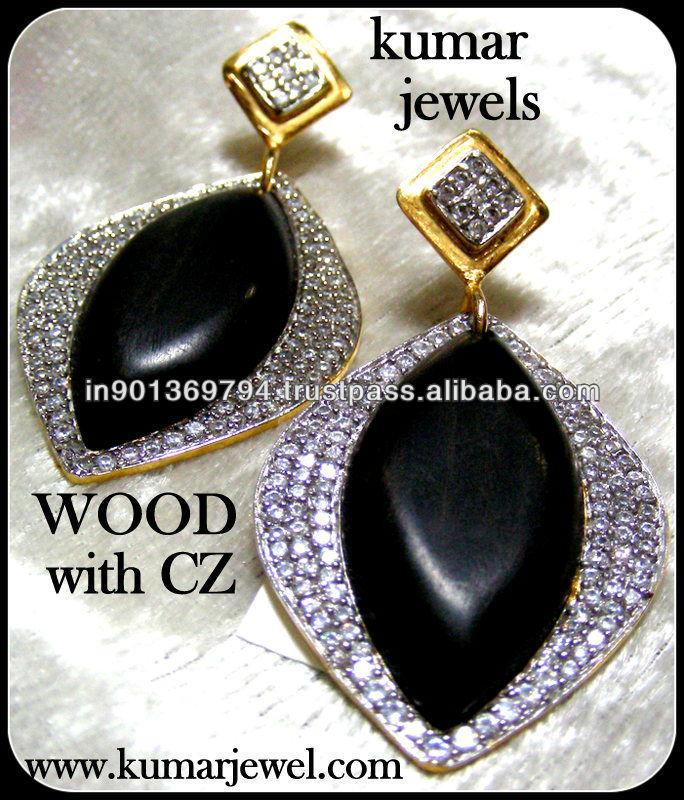 Designer Black Color Wood Stone CZ Studded Fashion Danglers Earrings