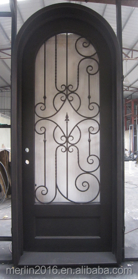 Arch top single wrought security iron door for house