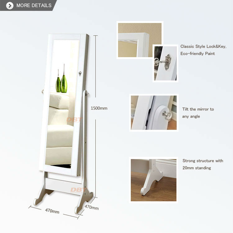 Wooden mirror Jewelry Armoire in white