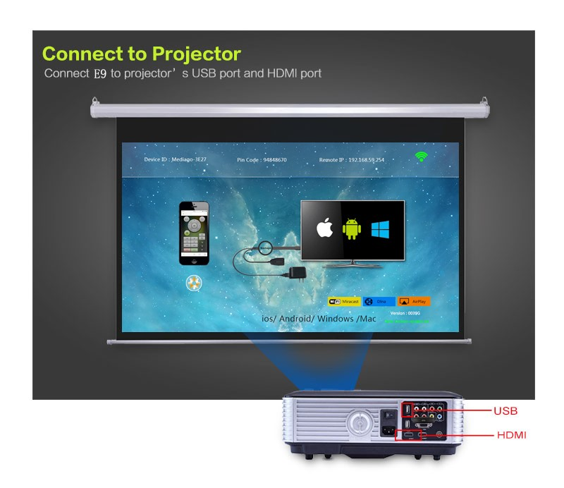 Factory Price Wireless 1080P Miracast Dlna Airplay Mirror Car Wifi Dongle