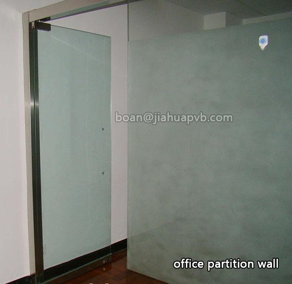 Tempered laminated glass with PVB film for translucent frameless door