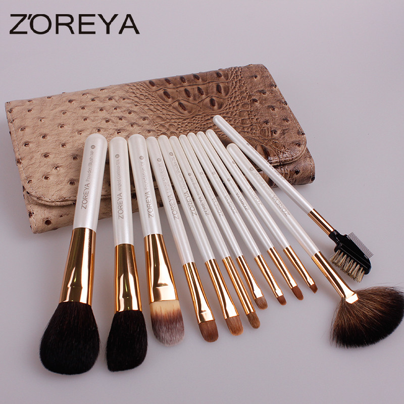 zoreya 12pcs brush set lady alive golden rose cosmetics