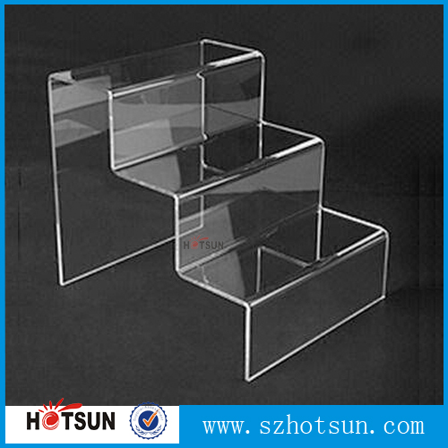 manufacturing custom clear contertop 3 stair step acrylic buffet display