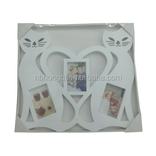 Love Heart Cat design Plastic Wall Hanging Picture Photo Frame