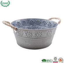outdoor & indoor decor embossing galvanizing antique metal planter pot