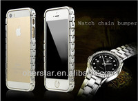 Hot!!! 2014 New For iPhone 5s Product Luxury Metal Aluminum Watch Chain Bumper Case