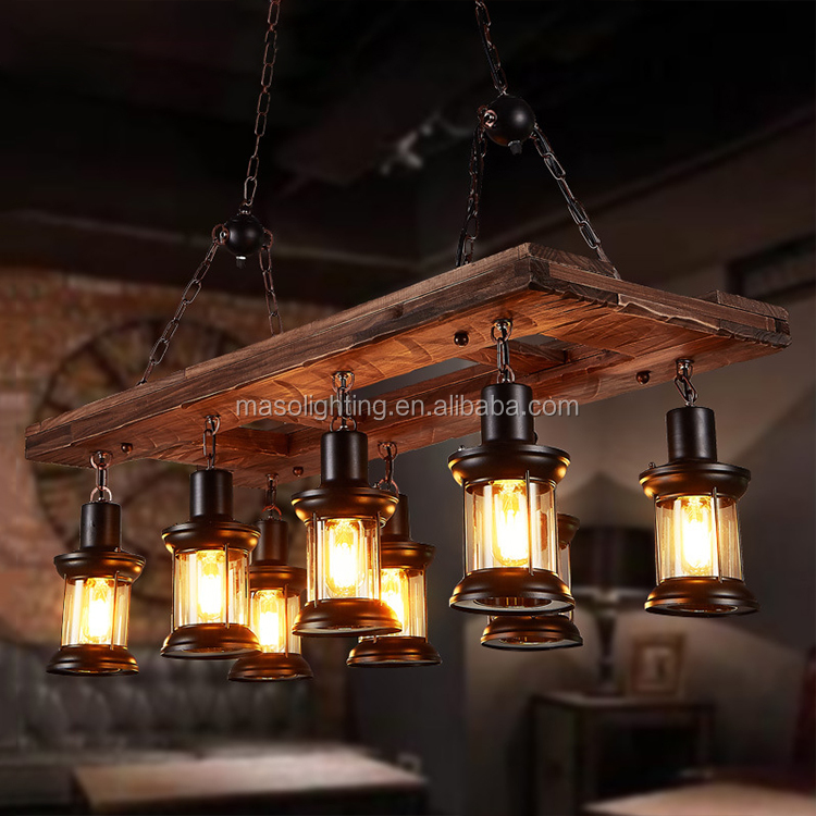 Vintage Wooden Lighting Decor Antique Wood Pendant Lamp 8 heads Farmhouse/bar/cafe/home industrial chandeliers & pendant lights