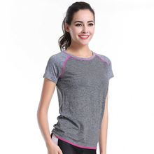 2017 Polyester Womens Fitness T-Shirt / Slim Fit Workout Shirts Custom Printed GYM sports wear