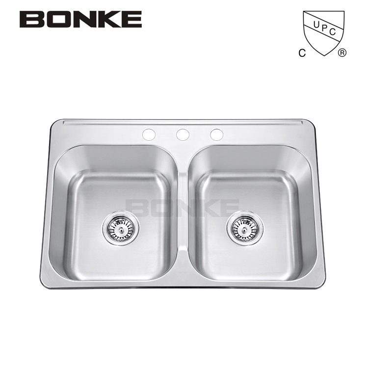31 Inch Bonke Premiere Gourmet 18 Gauge Stainless Steel Topmount Double Bowl Strainer Household Kitchen Sink