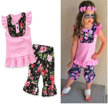 2017 Childrens boutique clothing sets summer flutter sleeve pink frill t shirts ruffle pants vintage girls ruffle remake outfits