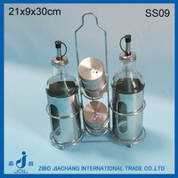 stainless steel coating glass sauce salt dispenser with metal stand