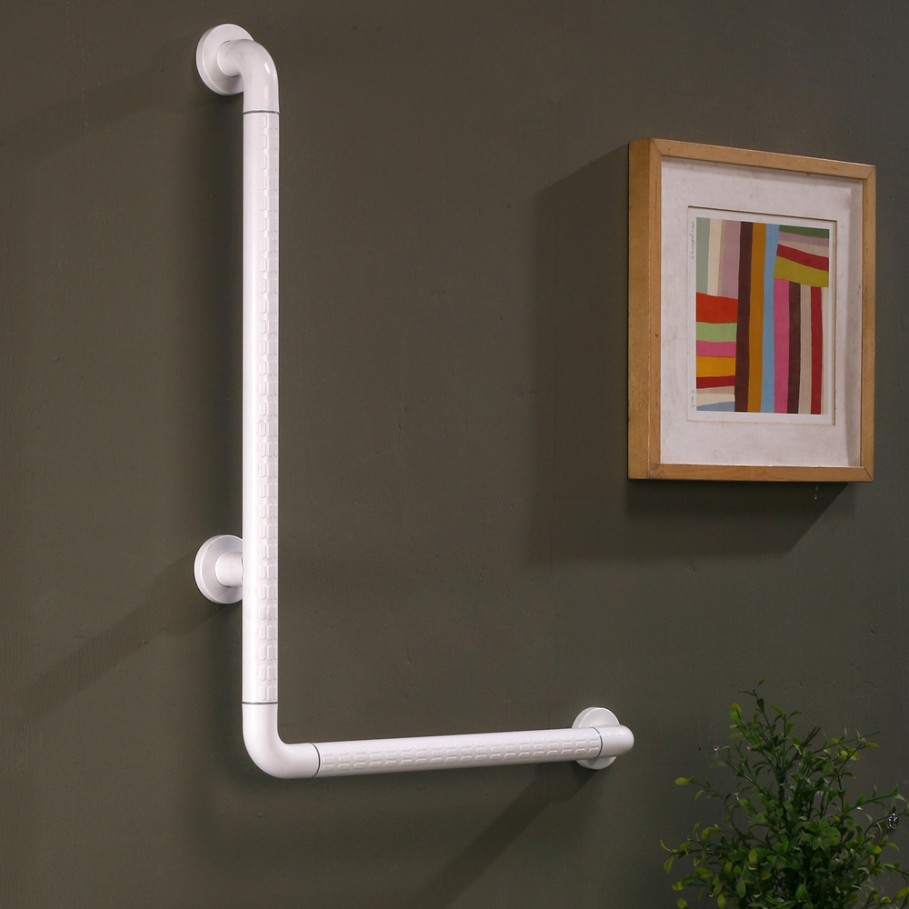 Wall mounted anti-bacterial nylon L-shaped bathroom grab bars for disabled