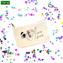 Stylish beautiful personalized 100%cotton zip reusable promotion artist printing holographic makeup bag