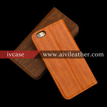 Fashion Genuine Leather Wood pattern Case For Iphone 6 Wallet Case