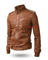 Genuine Leather SLIM Fit Tan/Brown Men Jacket Brown or Tan