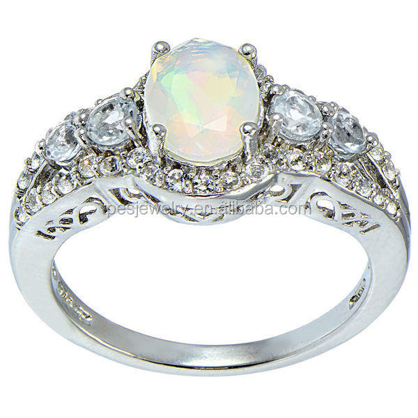 PES Fashion Jewelry! Glitzy Rocks Ethiopian Fire Opal Blue and Mystical White Topaz Rings (PES6-1708)