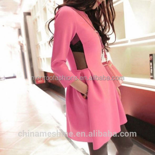 monroo Korea style women long sleeve high waist lovely pink bubble dresses