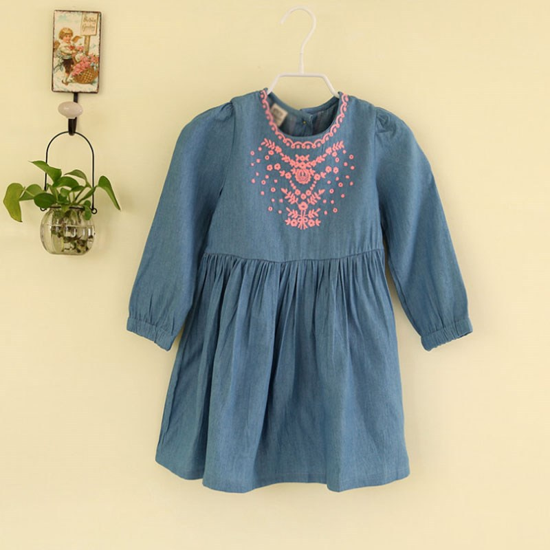 tad1032 2015 spring children's clothing boutique embroidered long-sleeved girls denim dress