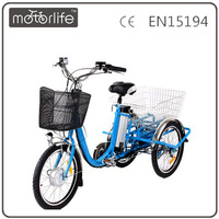 MOTORLIFE/OEM brand EN15194 36v 250w 3 wheel electric bicycle, triciclo elettrico usato